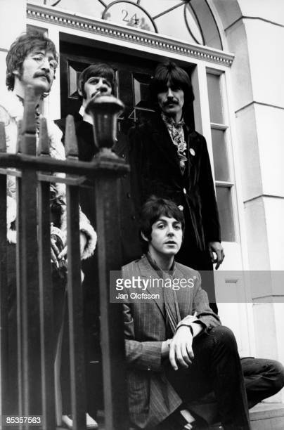 Photo of George HARRISON and Ringo STARR and John LENNON and BEATLES Back LR John Lennon Ringo Starr George Harrison Front Paul McCartney posed group...