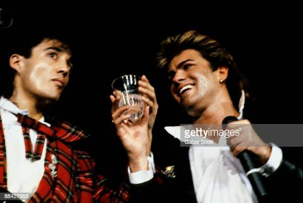 ARENA Photo of George MICHAEL and Andrew RIDGELEY and WHAM LR Andrew Ridgeley George Michael