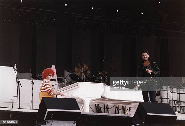 WEMBLEY Photo of George MICHAEL and Elton JOHN and WHAM George Michael w/Elton John at Wham Farewell concert