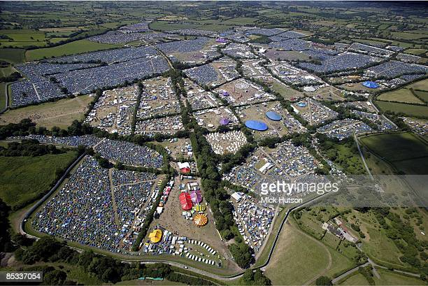 FESTIVAL Photo of GLASTONBURY FESTIVAL Aerial view of the Glastonbury Festival site