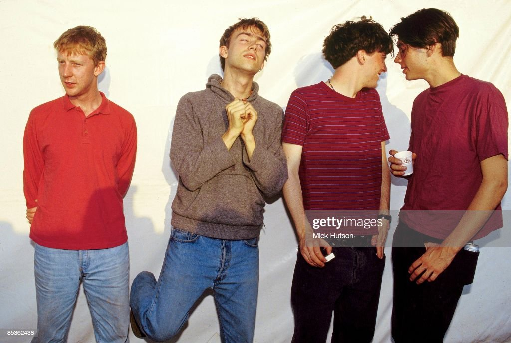 FESTIVAL Photo of Graham COXON and BLUR and Alex JAMES and Damon ALBARN and Dave ROWNTREE LR Dave Rowntree Damon Albarn Graham Coxon Alex James posed...