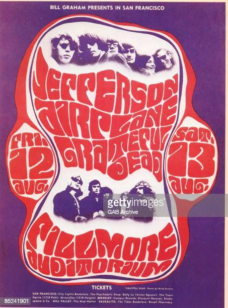 Photo of GRATEFUL DEAD and CONCERT POSTERS and JEFFERSON AIRPLANE Concert poster for Fillmore West show