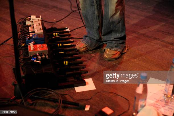 Photo of GUITAR EFFECTS PEDALS rack of guitar effects pedals being used on stage Including keyboard bass pedals