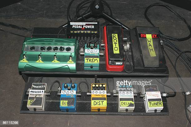 Photo of GUITAR EFFECTS PEDALS stage board of guitar effects pedals