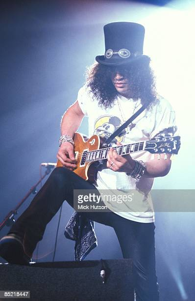 ARENA Photo of GUNS ROSES and SLASH and GUNS N' ROSES and GUNS AND ROSES Slash performing live onstage playing Gibson Les Paul guitar at Gibson Night...