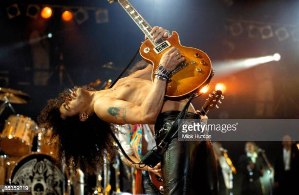 STADIUM Photo of GUNS ROSES and SLASH and GUNS N' ROSES and GUNS AND ROSES Slash performing live onstage at the Freddie Mercury Tribute Concert...