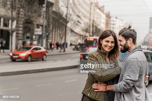 Photo of Happy Couple In A City : Stock Photo