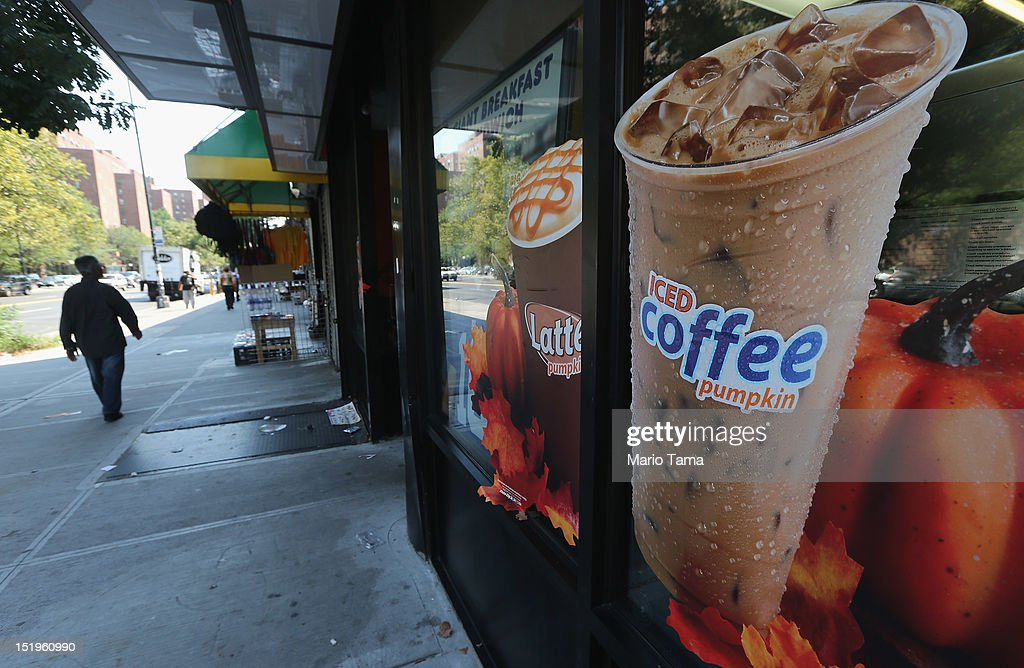 A photo of iced coffee is displayed a Manhattan Dunkin' Donuts on September 13, 2012 in New York City. In an effort to combat obesity, the New York City Board of Health voted to ban the sale of large sugary drinks. The controversial measure bars the sale of sugar drinks larger than 16 ounces at restaurants and concessions.