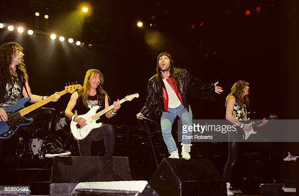 ARENA Photo of IRON MAIDEN and Bruce DICKINSON and Janick GERS and Dave MURRAY and Steve HARRIS LR Steve Harris Dave Murray Bruce Dickinson and...