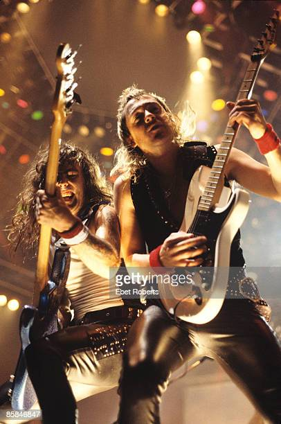 ARENA Photo of IRON MAIDEN and Dave MURRAY and Steve HARRIS Steve Harris and Dave Murray performing live onstage on the Seventh Tour of a Seventh Tour