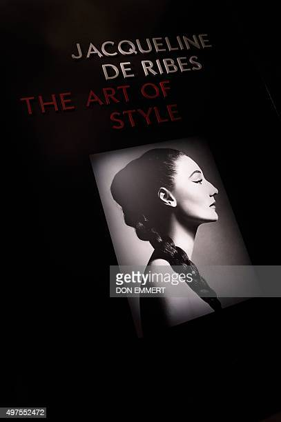 A photo of Jacqueline de Ribes at the entrance to the exhibit 'Jacqueline de Ribes The Art of Style' at the Metropolitan Museum of Art November 17...