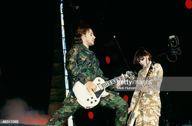 FESTIVAL Photo of James Dean BRADFIELD and MANIC STREET PREACHERS and Nicky WIRE James Dean Bradfield and Nicky Wire performing on stage