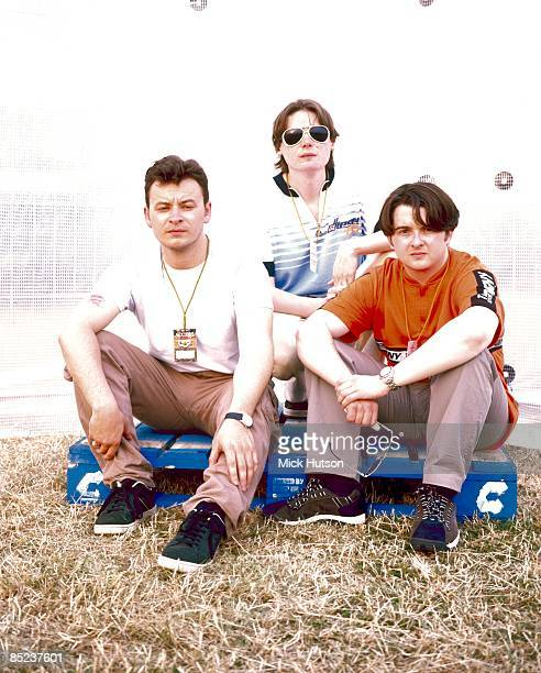 FESTIVAL Photo of James Dean BRADFIELD and MANIC STREET PREACHERS and Sean MOORE and Nicky WIRE LR James Dean Bradfield Nicky Wire Sean Moore posed...