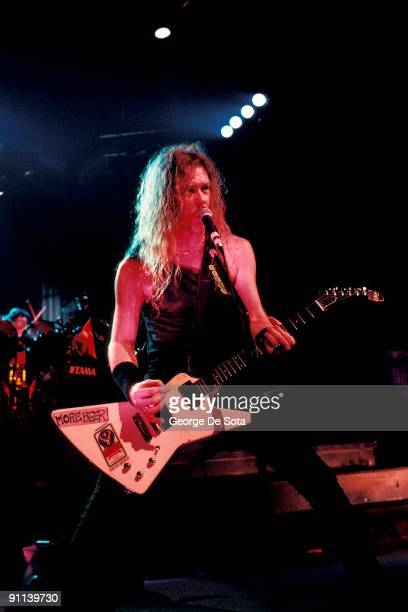 Photo of James HETFIELD and METALLICA James Hetfield performing live onstage playing Gibson Explorer guitar Photo by George De Sota /Redferns