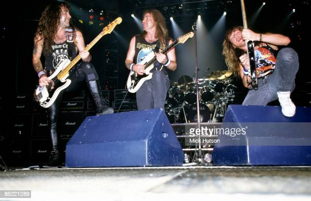 ARENA Photo of Janick GERS and Dave MURRAY and Steve HARRIS and IRON MAIDEN LR Steve Harris Dave Murray Janick Gers performing live onstage