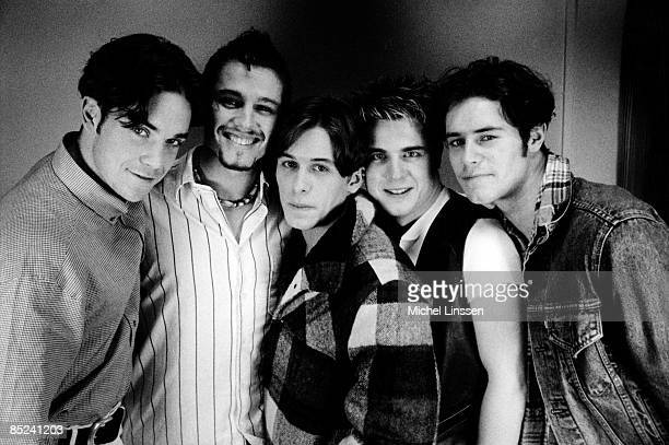 Photo of Jason ORANGE and TAKE THAT and Robbie WILLIAMS and Mark OWEN LR Robbie Williams Jason Orange Mark Owen Gary Barlow Howard Donald