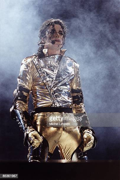 Photo of Jennifer BATTEN and Michael JACKSON Michael Jackson performing on stage at the Amsterdam ArenA HIStory Tour