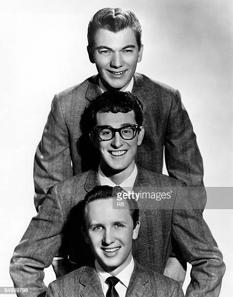 Photo of Jerry ALLISON and Joe B MAULDIN and CRICKETS and Buddy HOLLY Top to bottom Jerry Allison Buddy Holly Joe B Mauldin posed group shot of...