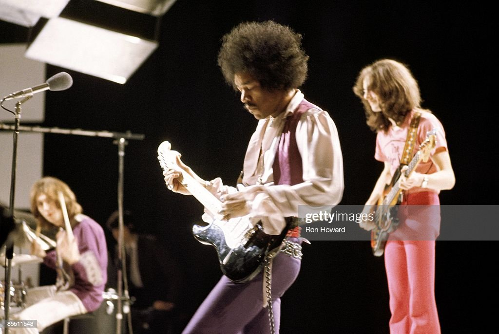 CENTRE Photo of Jimi HENDRIX and JIMI HENDRIX EXPERIENCE and Mitch MITCHELL and Noel REDDING, L-R. Mitch Mitchell, Jimi Hendrix, Noel Redding performing on 'Happening For Lulu' TV Show