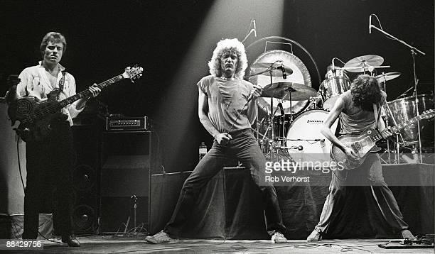 AHOY Photo of Jimmy PAGE and Robert PLANT and John Paul JONES and LED ZEPPELIN John Paul Jones Robert Plant and Jimmy Page performing live on stage