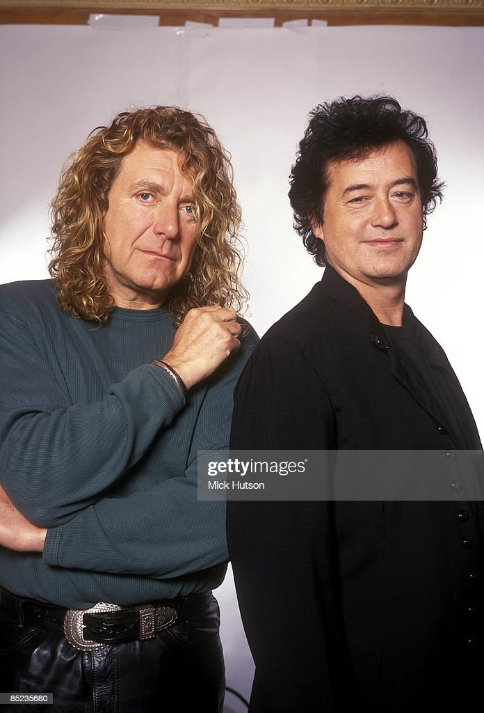 Photo of Jimmy PAGE and Robert PLANT and LED ZEPPELIN; L-R: Robert Plant, Jimmy Page of Led Zeppelin - posed, studio