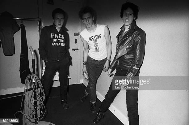 THEATRE Photo of Joe STRUMMER and CLASH and Mick JONES and Paul SIMONON L to R Joe Strummer Paul Simonon Mick Jones White Riot tour