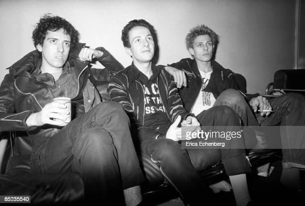 THEATRE Photo of Joe STRUMMER and Paul SIMONON and Mick JONES and CLASH LR Mick Jones Joe Strummer Paul Simonon posed backstage White Riot tour