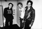 THEATRE Photo of Joe STRUMMER and Paul SIMONON and Mick JONES and CLASH LR Joe Strummer Paul Simonon Mick Jones posed backstage White Riot tour
