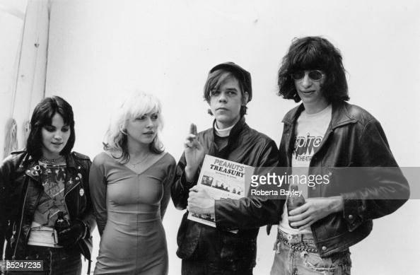 Photo of Joey RAMONE and Debbie HARRY and Joan JETT and David JOHANSEN LR Joan Jett Debbie Harry David Johansen Joey Ramone at a punk wedding