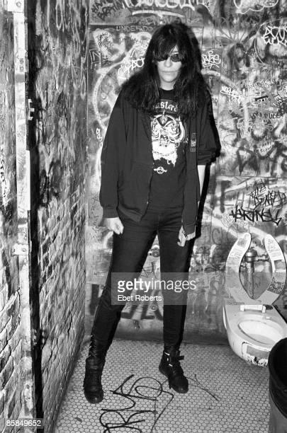 Photo of Joey RAMONE and RAMONES Joey Ramone in the toilets of CBGB's club