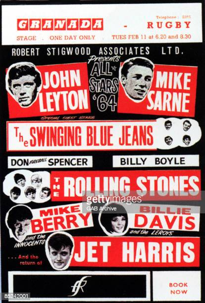 Photo of John LEYTON and ROLLING STONES and CONCERT POSTERS and SWINGING BLUE JEANS Concert poster for package tour featuring John Leyton Mike Sarne...