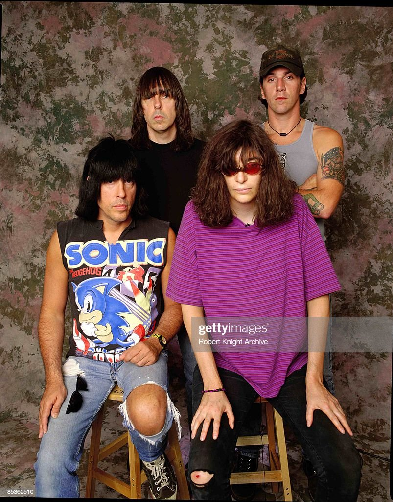 Photo of Johnny RAMONE and RAMONES and C.J. RAMONE and Joey RAMONE; Back row: Johnny Ramone (left), C.J. Ramone (right). Front: Marky Ramone (left), Joey Ramone