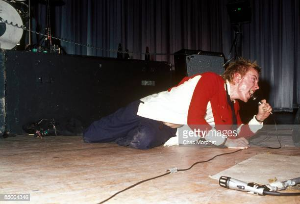 Photo of Johnny ROTTEN and SEX PISTOLS Johnny Rotten performing live onstage at Dunstable's Queensway Hall