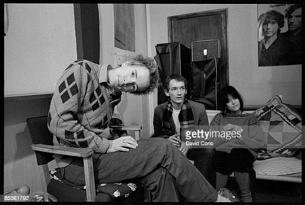 Photo of Keith LEVENE and John LYDON and PUBLIC IMAGE LTD LR John Lydon Keith Levene First lineup at Virgin Records London