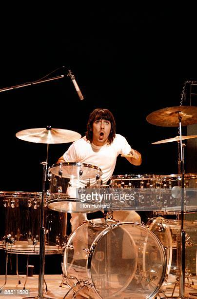 CENTRE Photo of Keith MOON and The Who Keith Moon performing on 'Into '71' TV show drums playing Zickos seethrough acrylic kit