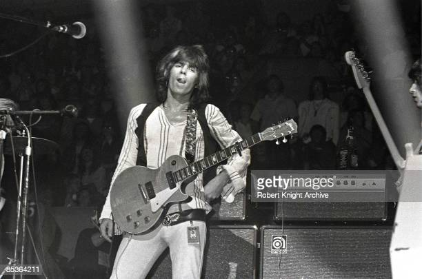Photo of Keith RICHARDS and ROLLING STONES Keith Richards performing live onstage playing Gibson Les Paul guitar with P90 pickups