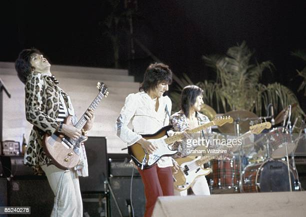 CINEMA Photo of Keith RICHARDS and Ron WOOD and Tetsu YAMAUCHI and Ronnie WOOD and FACES LR Keith Richards Ron Wood Tetsu Yamauchi performing live...