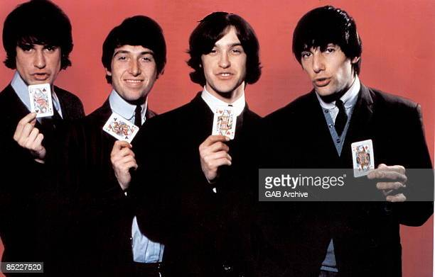 Photo of KINKS and Ray DAVIES and Dave DAVIES and Pete QUAIFE and Mick AVORY Group portrait LR Ray Davies Pete Quaife Dave Davies and Mick Avory...