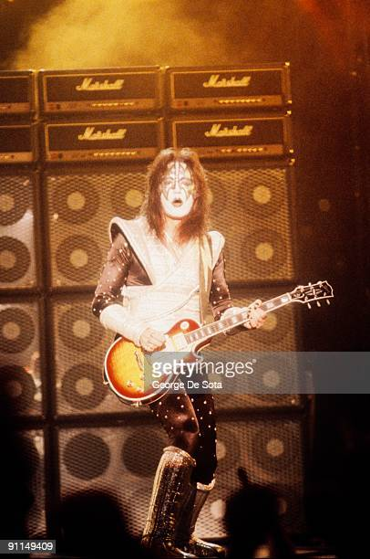 Photo of KISS and Ace FREHLEY Ace Frehley performing on stage playing Gibson Les Paul Custom guitar Photo by George De Sota /Redferns