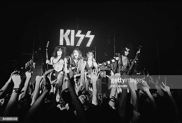 THEATER Photo of KISS and Paul STANLEY and Gene SIMMONS and Peter CRISS and Ace FREHLEY LR Paul Stanley Ace Frehley Peter Criss Gene Simmons posed...