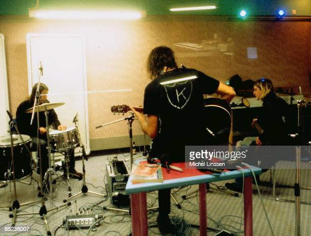 HILVERSUM Photo of Krist NOVOSELIC and Dave GROHL and NIRVANA and Kurt COBAIN Dave Grohl Krist Novolselic and Kurt Cobain band recording in Hilversum...