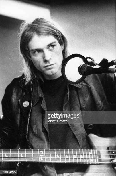 HILVERSUM Photo of Kurt COBAIN and NIRVANA Kurt Cobain recording in Hilversum Studios playing bass guitar