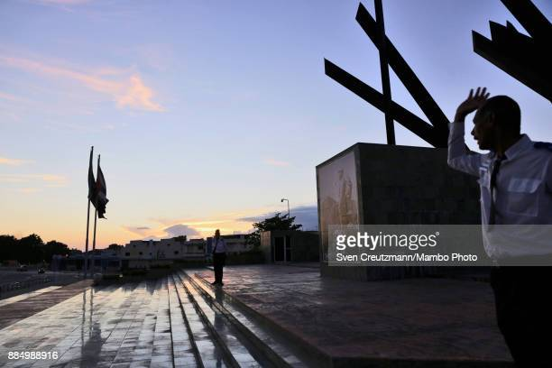 A photo of late Cuban Revolution leader Fidel Castro is seen at the Revolution square as Cuba commemorates the first anniversary of Castro's funeral...