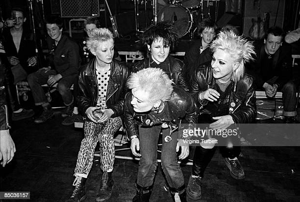Photo of LEATHER JACKET and 70'S STYLE and 70's and PUNKS punks larking about at a gig at Southbank Poly