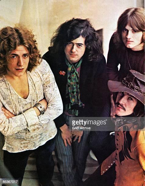 Photo of LED ZEPPELIN LR Robert Plant Jimmy Page John Paul Jones John Bonham posed group shot