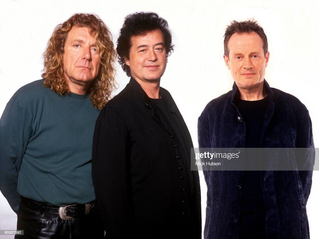 Photo of LED ZEPPELIN; L-R Robert Plant, Jimmy Page, John Paul Jones