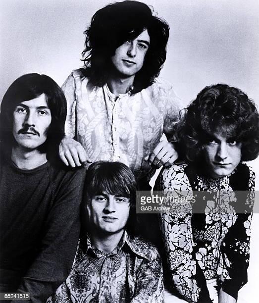 STUDIO Photo of LED ZEPPELIN Posed group shot L R John Bonham Jimmy Page John Paul Jones Robert Plant