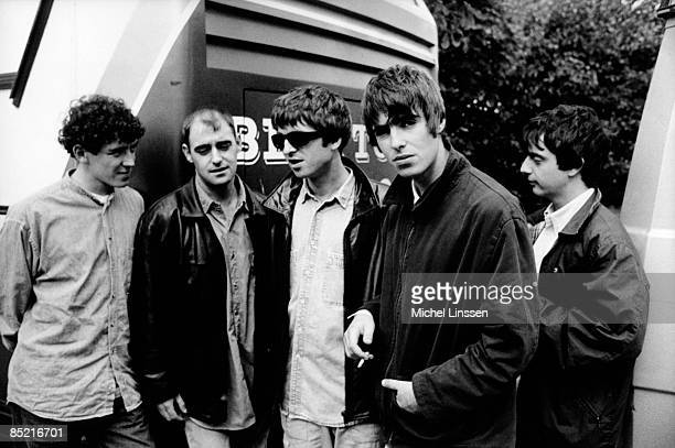 NETHERLANDS Photo of Liam GALLAGHER and Noel GALLAGHER and OASIS LRTony McCarroll Paul 'Bonehead' Arthurs Noel Gallagher Liam Gallagher Paul 'Guigsy'...