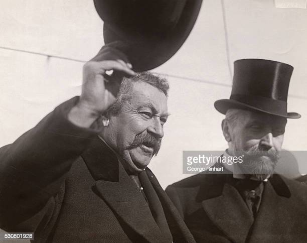 Photo of M Aristide Briand Premier of France at left and Gaston Liebert French CounsulGeneral to the United States on SS Paris today La PAris ailed...
