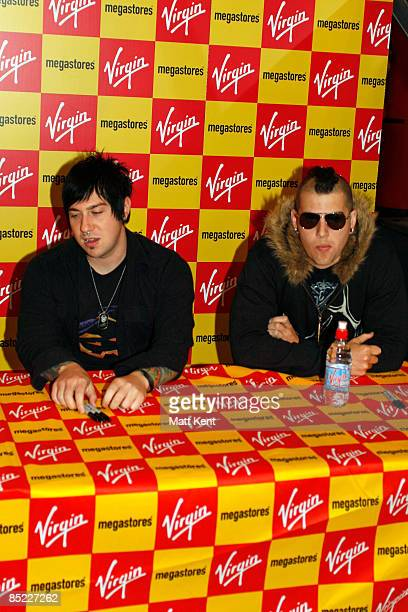 MEGASTORE Photo of M SHADOWS and Zacky VENGEANCE and AVENGED SEVENFOLD LR Zacky Vengeance and M Shadows promote the single 'Almost Easy'